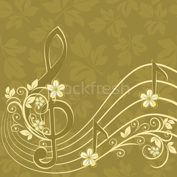 Musical background with a treble clef and a flower pattern Stock photo © g215