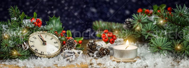 Weihnachten Fichte Uhr Panorama Bild Feuer Stock foto © g215
