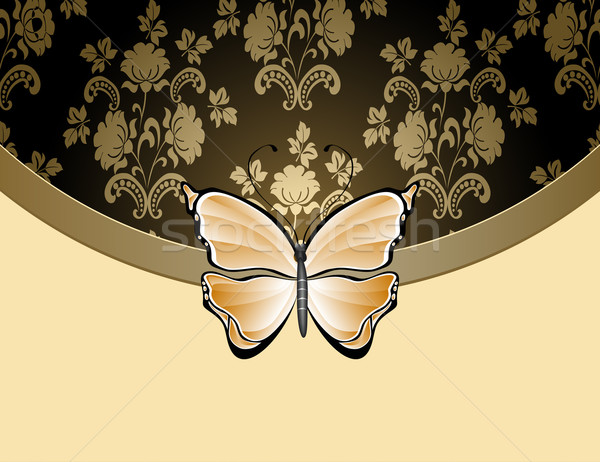 Beige flower background with the butterfly and a tape Stock photo © g215