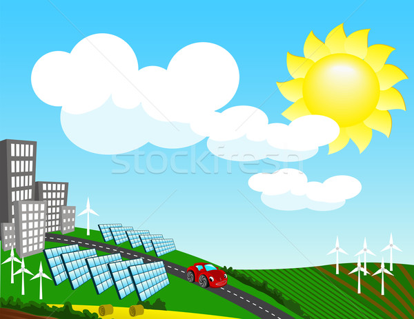 Landscape with environmentally friendly forms of energy Stock photo © g215