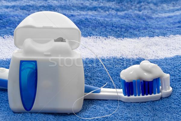 Flosdraad tandenborstel handdoek achtergrond borstel plastic Stockfoto © g215