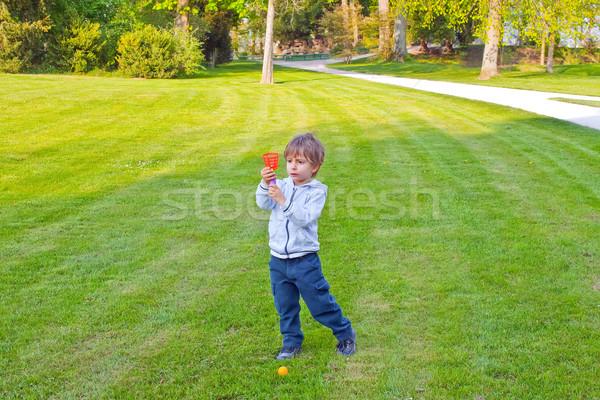 Nino jugando pelota parque peces árboles Foto stock © g215