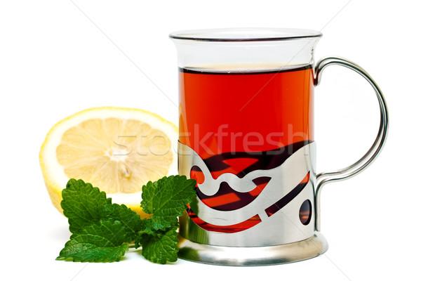 Stockfoto: Thee · glas · citroen · balsem · achtergrond · groene