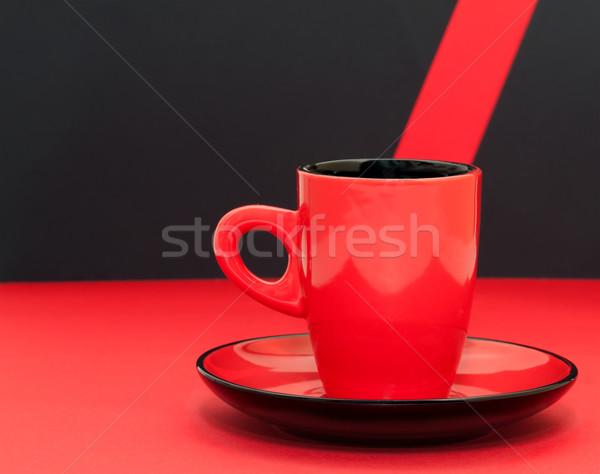 красный чашку кофе черный кофе пить пластина Сток-фото © g215