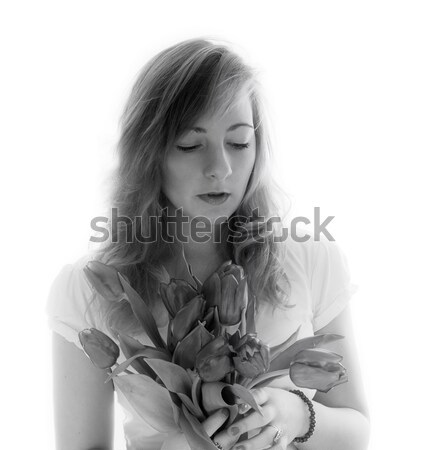 Monocromático retrato jovem buquê tulipas flor Foto stock © g215