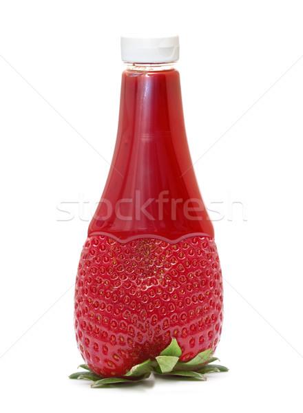 strawberry jam in a bottle strawberry shape Stock photo © g215