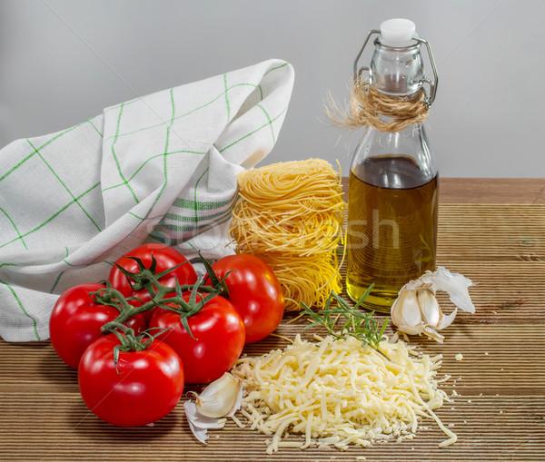 Makarna domates otlar ahşap masa gıda domates Stok fotoğraf © g215