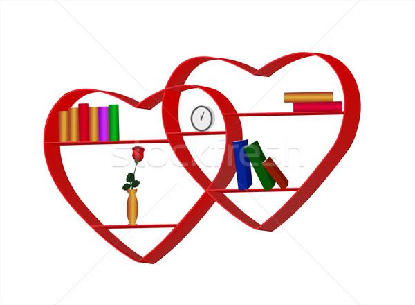 книжные полки форме сердце закрывается часы мебель Сток-фото © g215