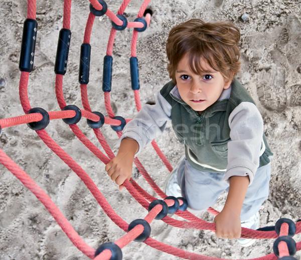 A little boy climbs up the ladder. Stock photo © g215