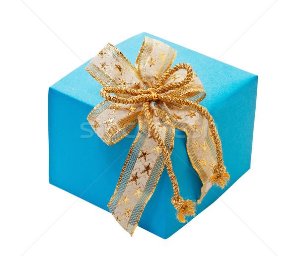 Ajándék doboz íj izolált fehér papír születésnap Stock fotó © g215