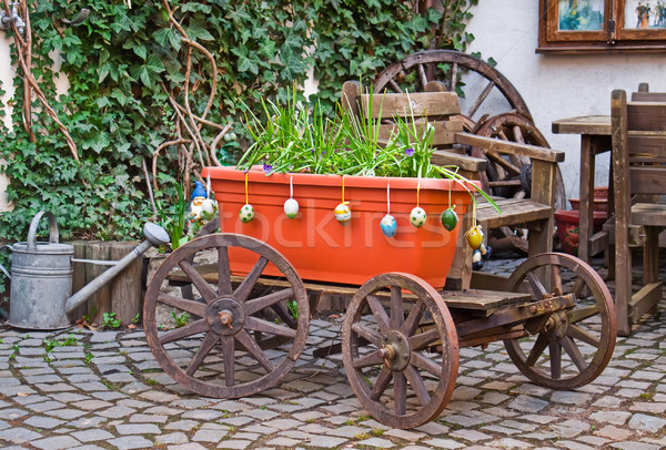 Old wagon with flowers. Homestead. Stock photo © g215