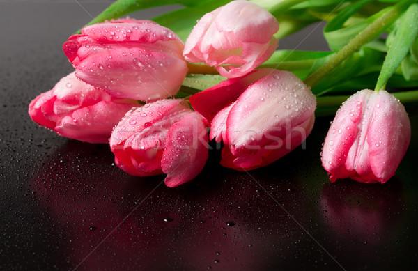 Tavaszi virág rózsaszín tulipánok virágcsokor fekete természet Stock fotó © g215