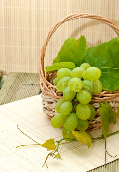 Bunch of white grapes in the basket Stock photo © g215