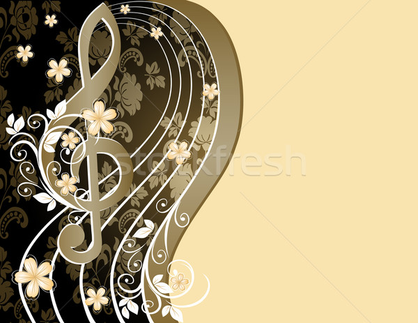 Beige musical background with a treble clef and a flower pattern Stock photo © g215