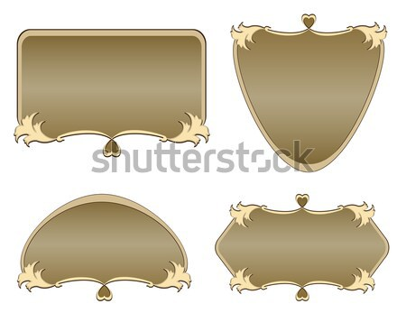 Beige vintage background with a gold ornament Stock photo © g215