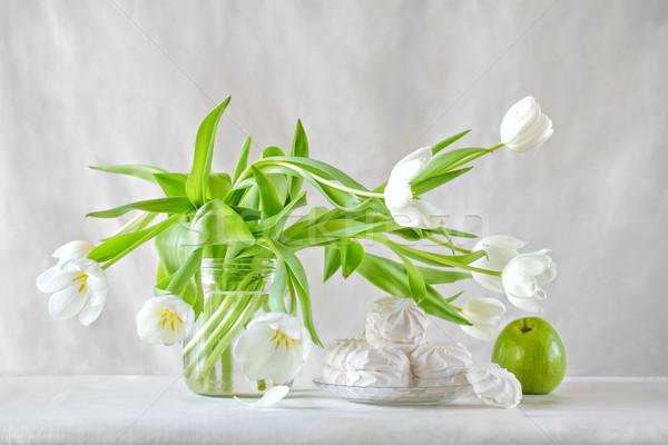 Stok fotoğraf: Natürmort · beyaz · lale · gıda · ışık · yaz