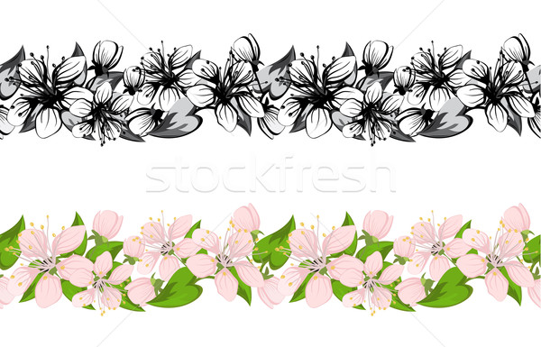 Horizontal seamless pattern with cherry blossoms  Stock photo © g215