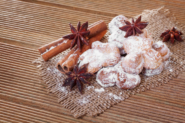 Cookies with anise stars and cinnamon on sacking Stock photo © g215