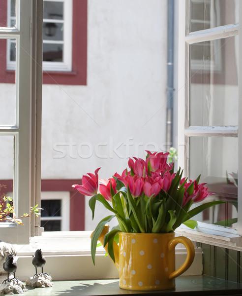 Bouquet tulipani davanzale finestra tulipano vita Foto d'archivio © g215
