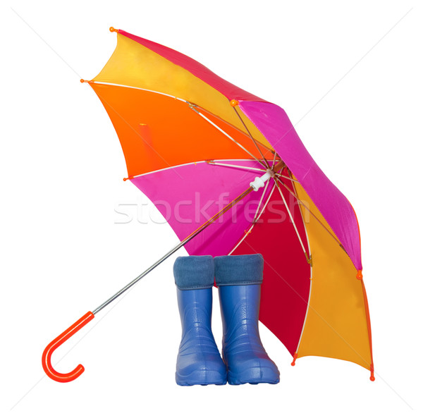 rubber boots and a colorful umbrella isolated on a white background. Stock photo © g215