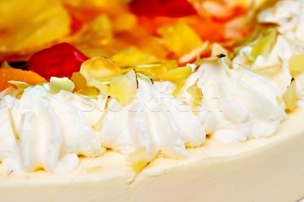 Pastel de frutas crema batida alimentos frutas verde blanco Foto stock © g215