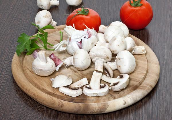 Mező gombák paradicsomok fokhagyma étel csoport Stock fotó © g215