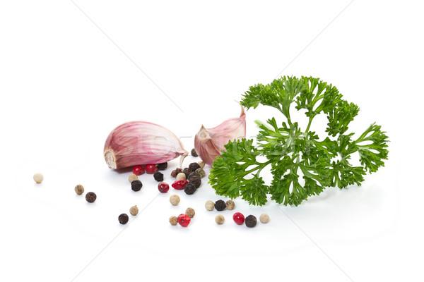 Sarımsak baharatlar beyaz doğa yaz bitki Stok fotoğraf © g215
