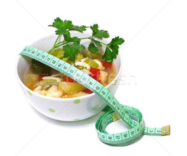 Zöldségleves fogyókúra fehér egészség zöld piros Stock fotó © g215