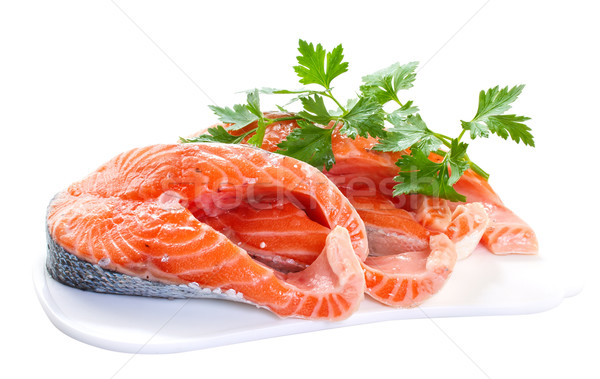 Slices of salmon, isolated on a white background.  Stock photo © g215
