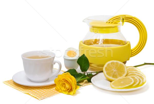чай лимона желтый роз белый продовольствие Сток-фото © g215
