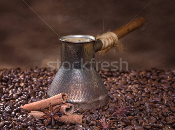 Freshly brewed coffee with cinnamon and anise Stock photo © g215
