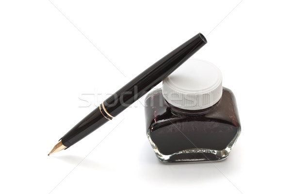 Ink pen with an open pen on a white background Stock photo © g215