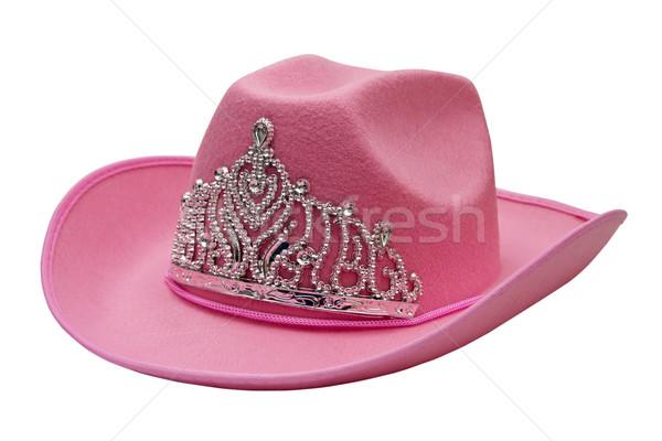 Rosa chapéu de cowboy isolado branco vaqueiro coroa Foto stock © g215