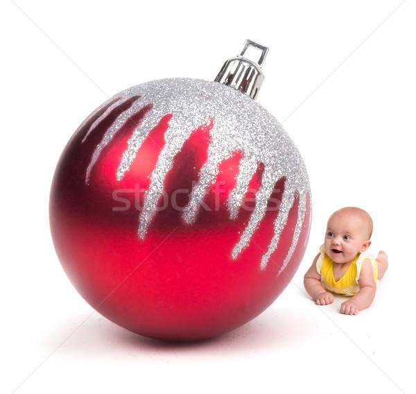 Сток-фото: Cute · ребенка · улыбаясь · изолированный · белый · огромный