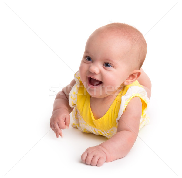 Cute baby glimlachend geïsoleerd witte glimlach Stockfoto © gabes1976
