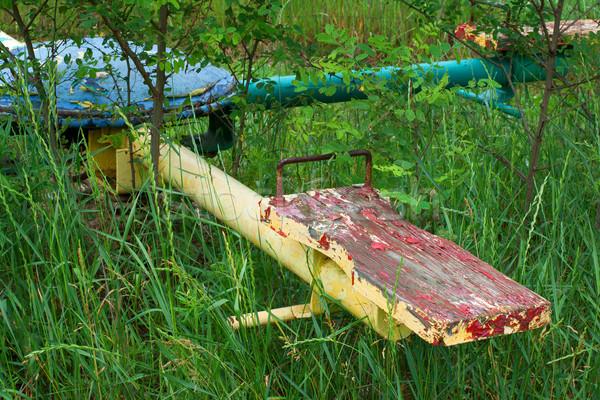 古い 無視された 遊び場 子供 草 ストックフォト © gabes1976