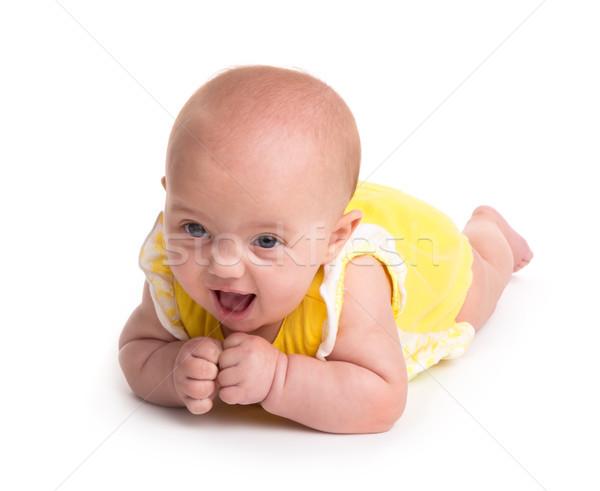 Stok fotoğraf: Sevimli · bebek · gülen · yalıtılmış · beyaz · gülümseme
