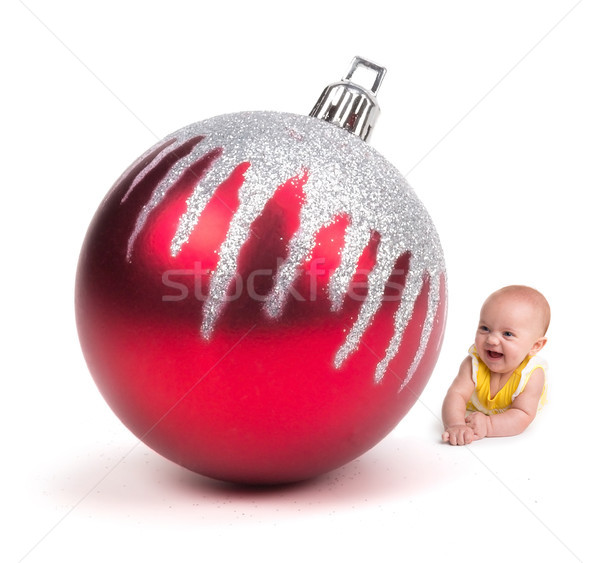 Cute baby glimlachend reusachtig christmas ornament Stockfoto © gabes1976