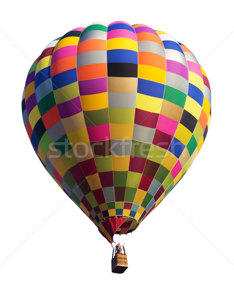 Stockfoto: Kleurrijk · luchtballon · geïsoleerd · witte · hemel · sport
