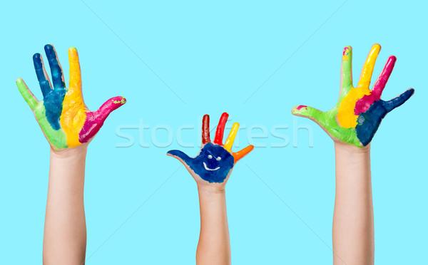 рук Cute улыбаясь красочный окрашенный Сток-фото © gabor_galovtsik