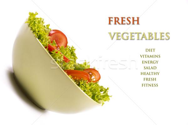 Légumes frais fraîches saladier isolé photos vert Photo stock © gabor_galovtsik