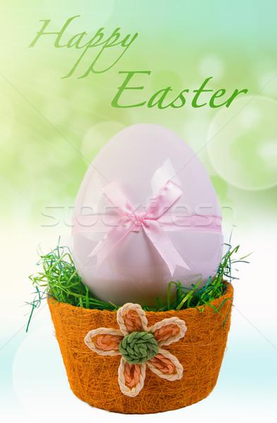 Pâques rose œuf de Pâques panier design oeuf Photo stock © gabor_galovtsik