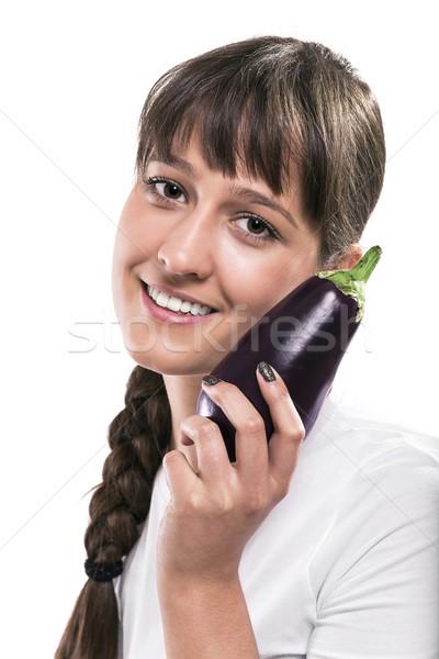 Pourpre aubergine belle femme isolé photos Photo stock © gabor_galovtsik