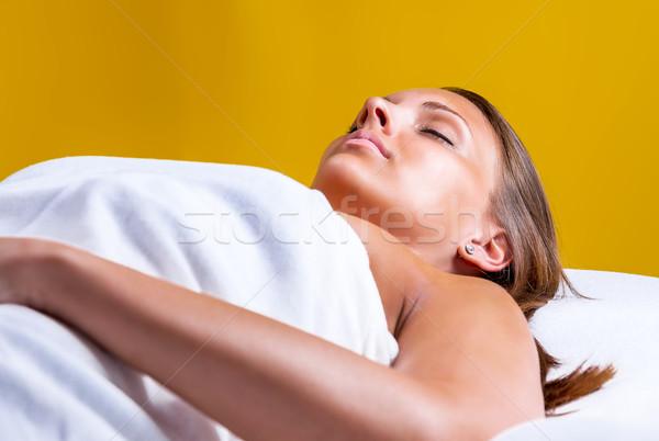 顔 洗浄 ビューティーサロン 少女 目 医療 ストックフォト © gabor_galovtsik