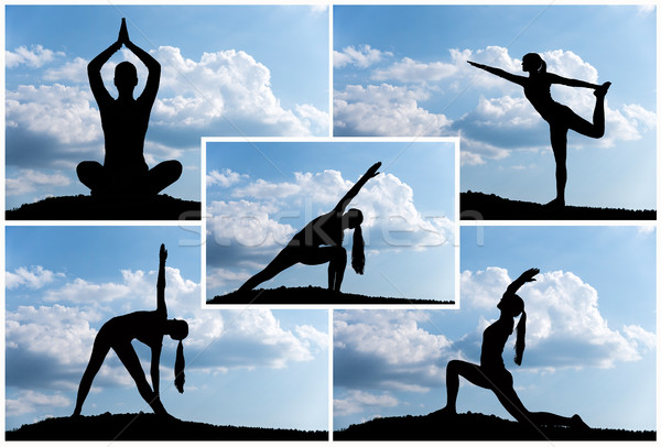 Yoga montage Stock photo © gabor_galovtsik