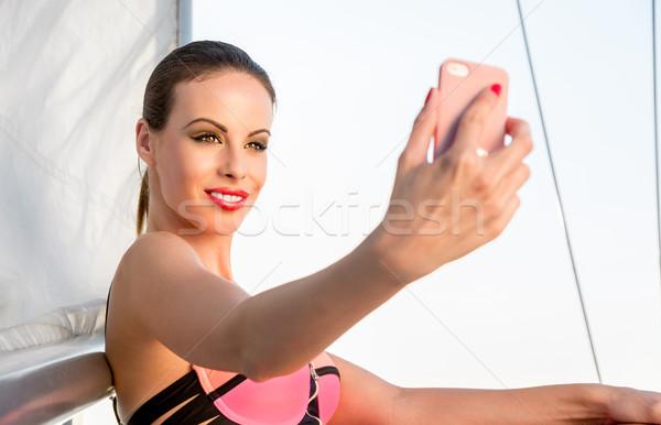 красивая девушка фотографий улыбка лице женщины счастливым Сток-фото © gabor_galovtsik