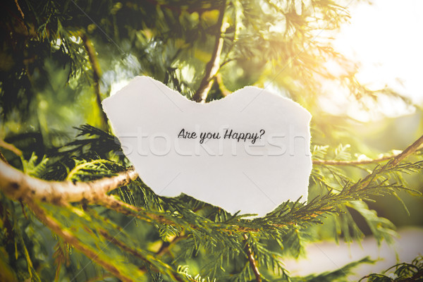 Heureux texte arbre de pin vintage couleurs arbre Photo stock © gabor_galovtsik