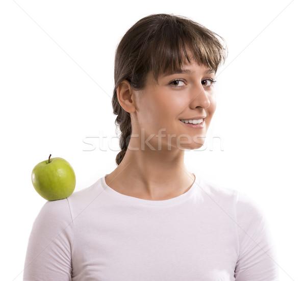 Vert pomme femme épaules sourire visage Photo stock © gabor_galovtsik