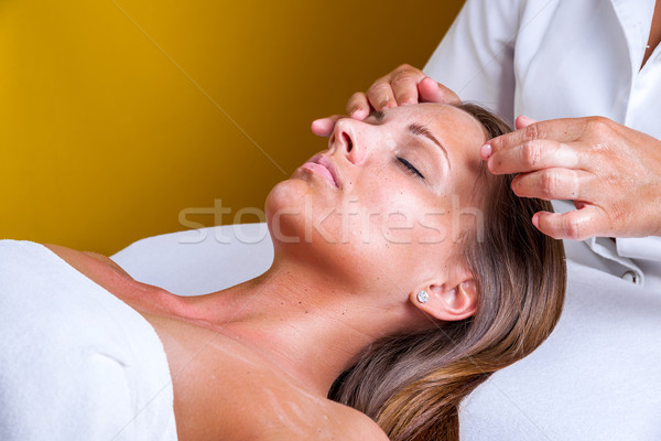 Face cleaning in a beauty salon. Stock photo © gabor_galovtsik