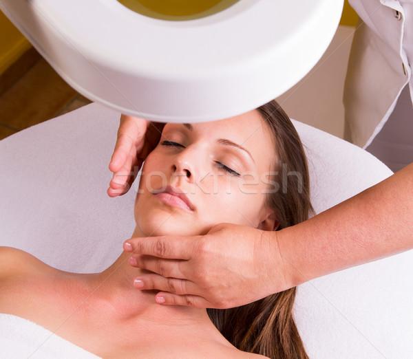 Arc takarítónő kozmetikai kezelés szépségszalon gyógyszer Stock fotó © gabor_galovtsik